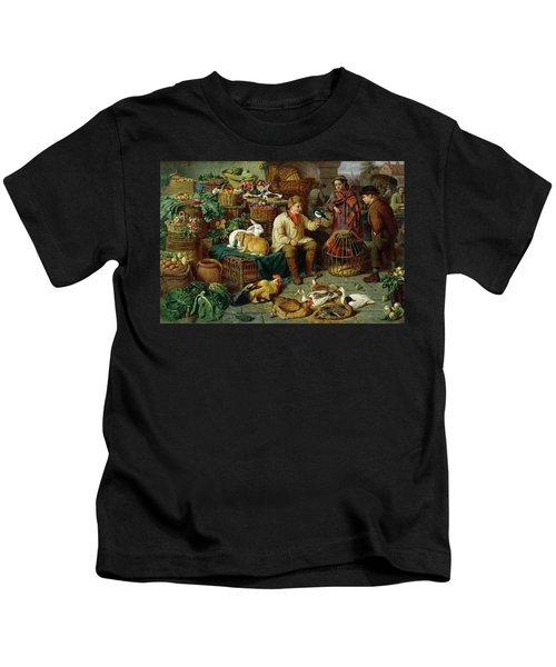 Market Scene Kids T-Shirt by Henry Charles Bryant