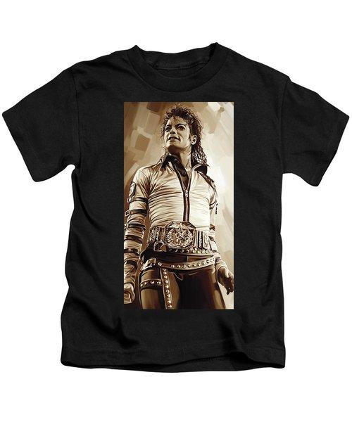Michael Jackson Artwork 2 Kids T-Shirt by Sheraz A