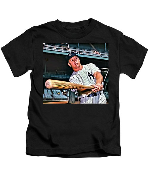 Mickey Mantle Painting Kids T-Shirt by Florian Rodarte