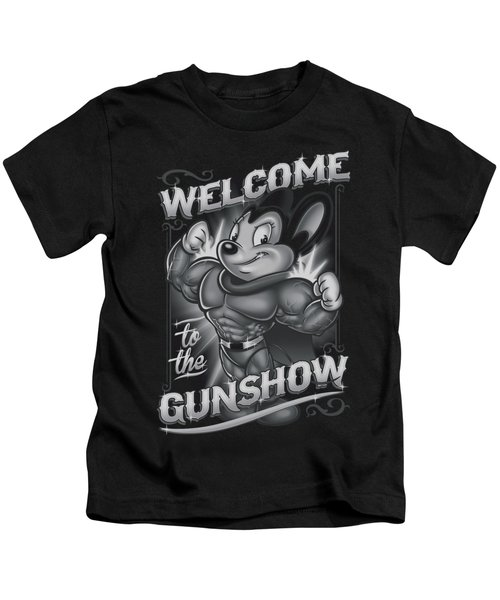 Mighty Mouse - Mighty Gunshow Kids T-Shirt by Brand A