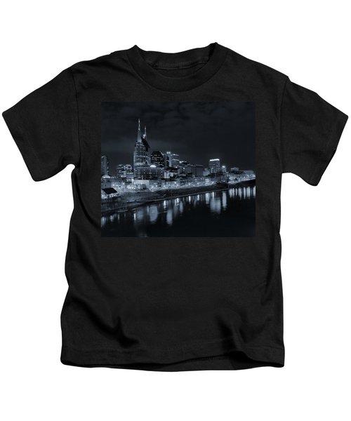 Nashville Skyline At Night Kids T-Shirt by Dan Sproul