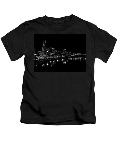 Nashville Skyline At Night In Black And White Kids T-Shirt by Dan Sproul