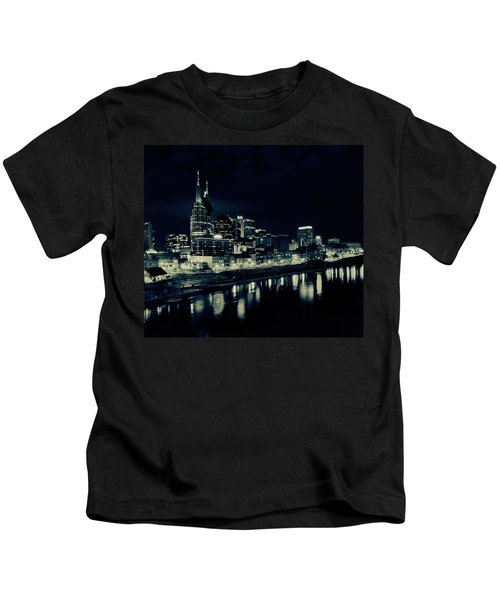 Nashville Skyline Reflected At Night Kids T-Shirt by Dan Sproul