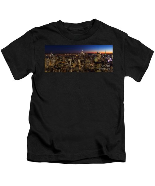New York City Skyline At Dusk Kids T-Shirt by Mike Reid