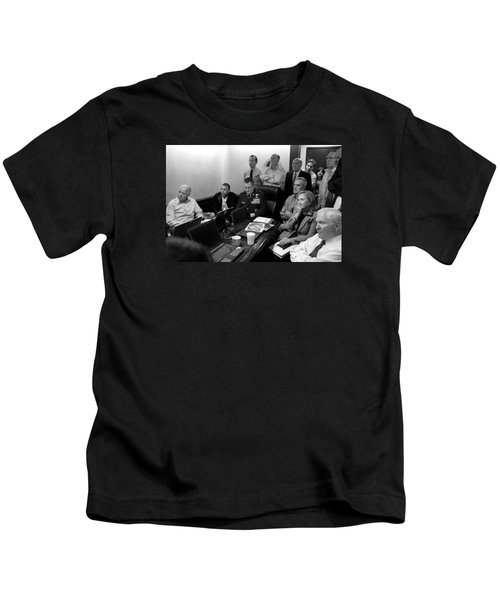 Obama In White House Situation Room Kids T-Shirt by War Is Hell Store