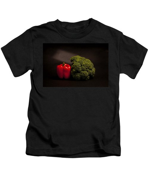 Pepper Nd Brocoli Kids T-Shirt by Peter Tellone