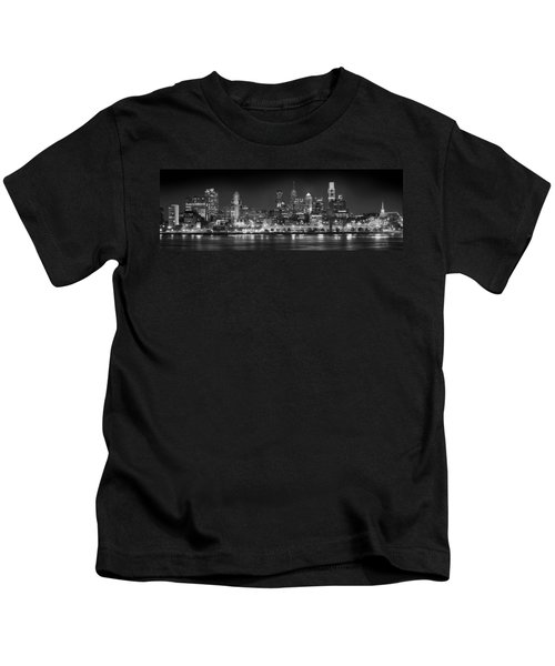 Philadelphia Philly Skyline At Night From East Black And White Bw Kids T-Shirt by Jon Holiday