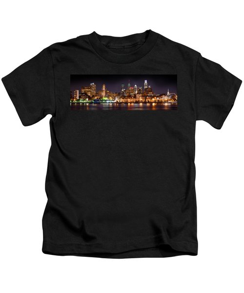 Philadelphia Philly Skyline At Night From East Color Kids T-Shirt by Jon Holiday