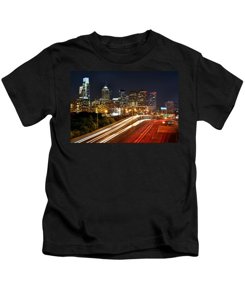 Philadelphia Skyline At Night In Color Car Light Trails Kids T-Shirt by Jon Holiday