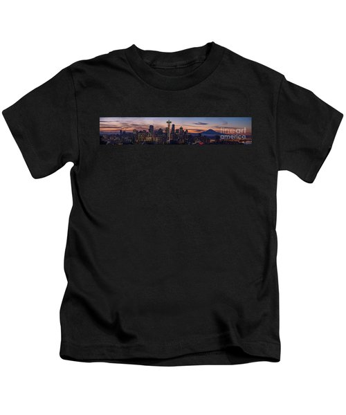 Seattle Cityscape Morning Light Kids T-Shirt by Mike Reid