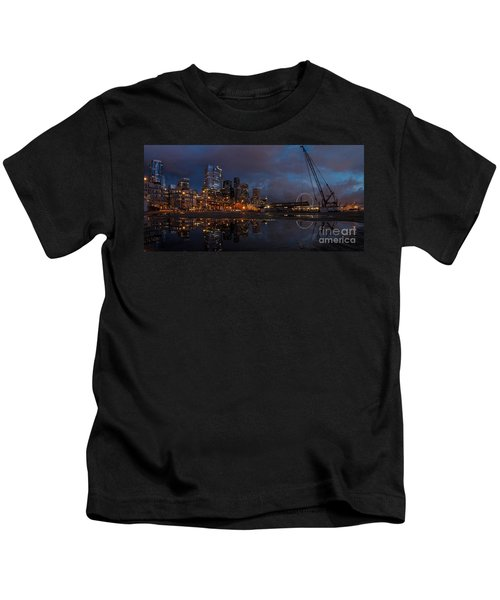 Seattle Night Skyline Kids T-Shirt by Mike Reid