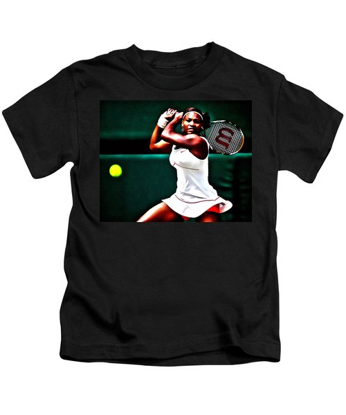 Serena Williams 3a Kids T-Shirt by Brian Reaves