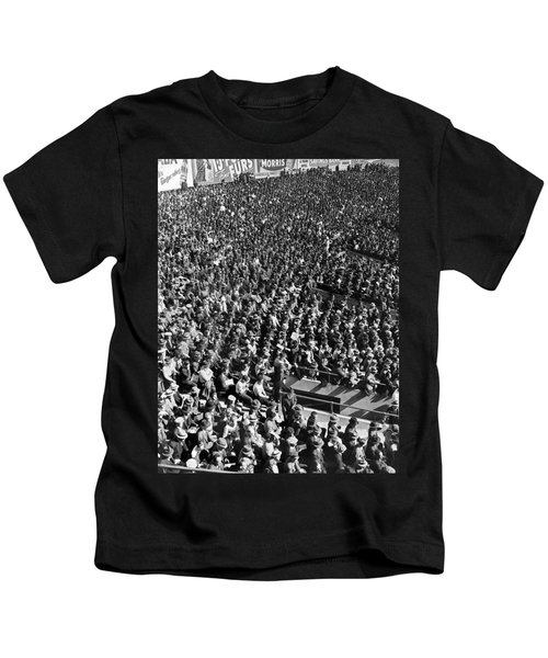 Baseball Fans At Yankee Stadium In New York   Kids T-Shirt by Underwood Archives