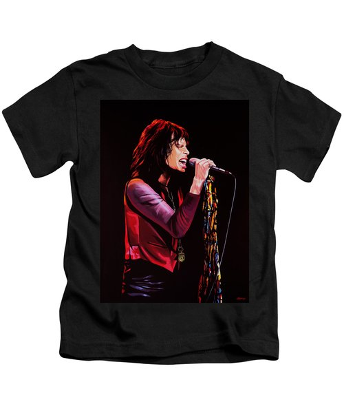 Steven Tyler In Aerosmith Kids T-Shirt by Paul Meijering