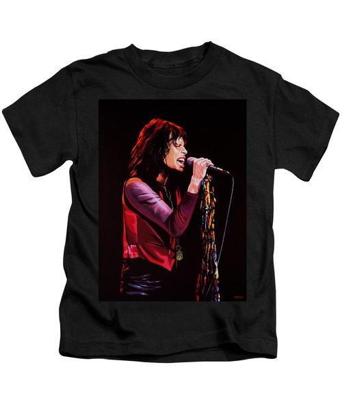 Steven Tyler In Aerosmith Kids T-Shirt by Paul Meijering