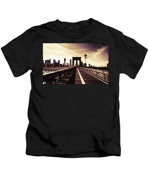 The Brooklyn Bridge - New York City Kids T-Shirt by Vivienne Gucwa