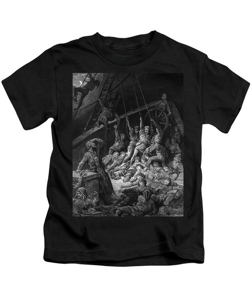 The Dead Sailors Rise Up And Start To Work The Ropes Of The Ship So That It Begins To Move Kids T-Shirt by Gustave Dore