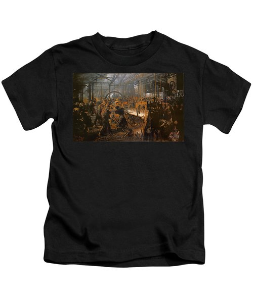 The Iron-rolling Mill Oil On Canvas, 1875 Kids T-Shirt by Adolph Friedrich Erdmann von Menzel
