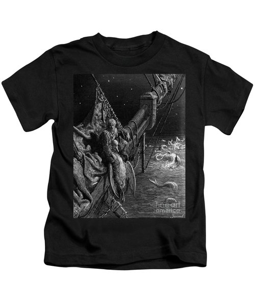 The Mariner Gazes On The Serpents In The Ocean Kids T-Shirt by Gustave Dore