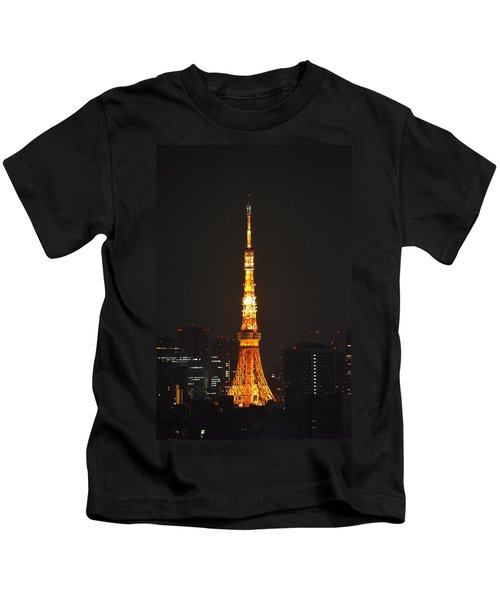 Tokyo Tower And Skyline At Night From Shinagawa Kids T-Shirt by Jeff at JSJ Photography