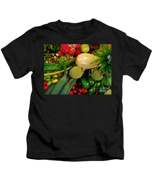 Tropical Fruits Kids T-Shirt by Carey Chen
