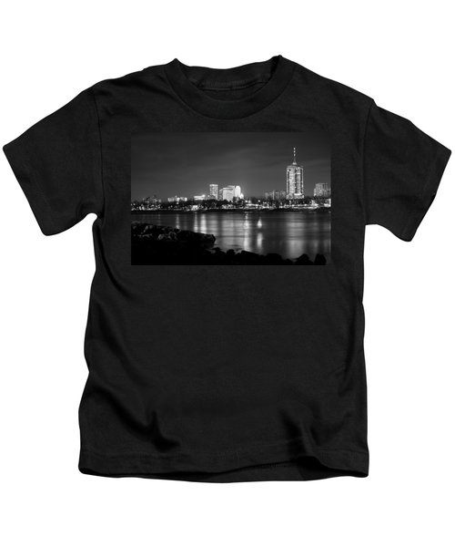 Tulsa In Black And White - University Tower View Kids T-Shirt by Gregory Ballos
