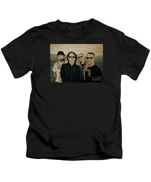 U2 Silver And Gold Kids T-Shirt by Paul Meijering