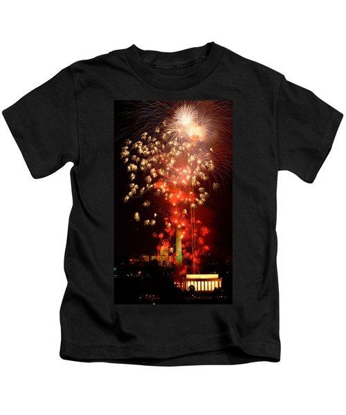Usa, Washington Dc, Fireworks Kids T-Shirt by Panoramic Images