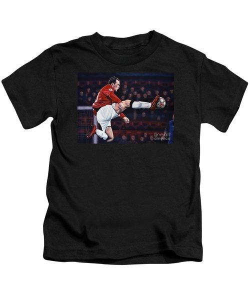 Wayne Rooney Kids T-Shirt by Paul Meijering