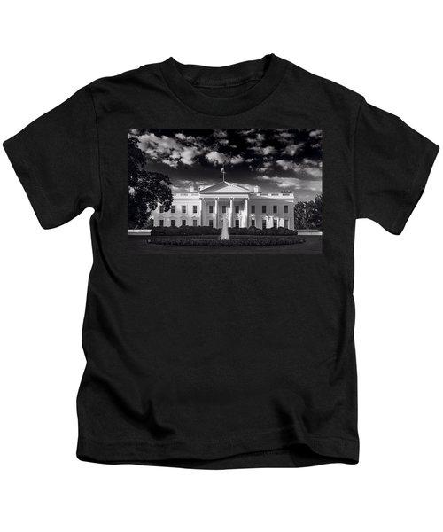 White House Sunrise B W Kids T-Shirt by Steve Gadomski