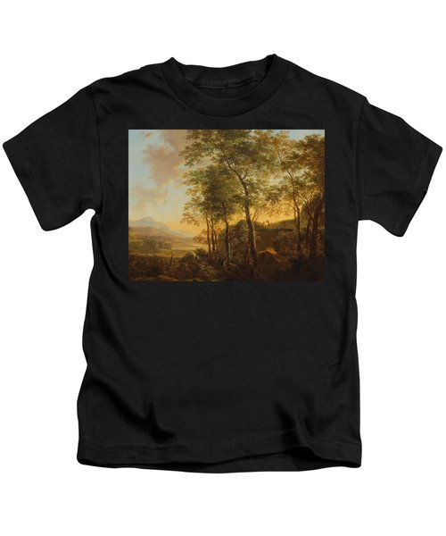 Wooded Hillside With A Vista Kids T-Shirt by Jan Both