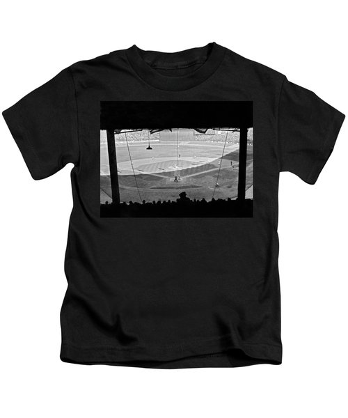 Yankee Stadium Grandstand View Kids T-Shirt by Underwood Archives