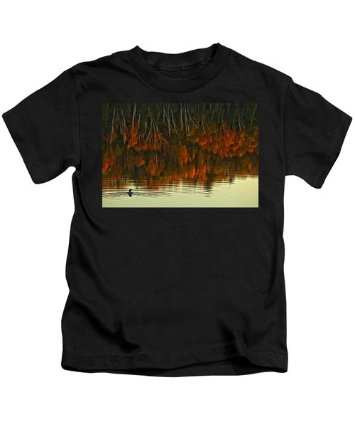 Loon In Opeongo Lake With Reflection Kids T-Shirt by Robert Postma