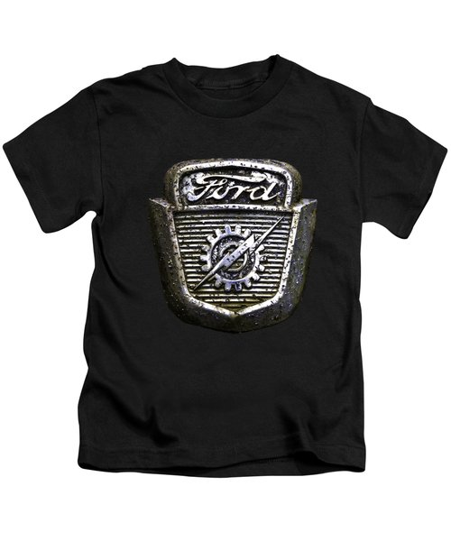 Ford Emblem Kids T-Shirt by Debra and Dave Vanderlaan