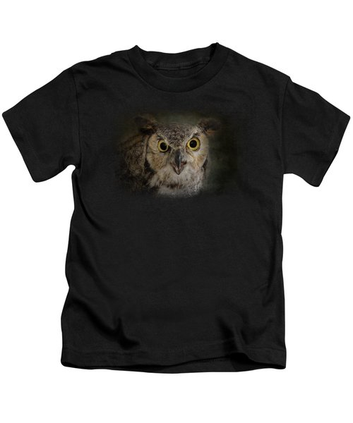 Great Horned Owl Kids T-Shirt by Jai Johnson