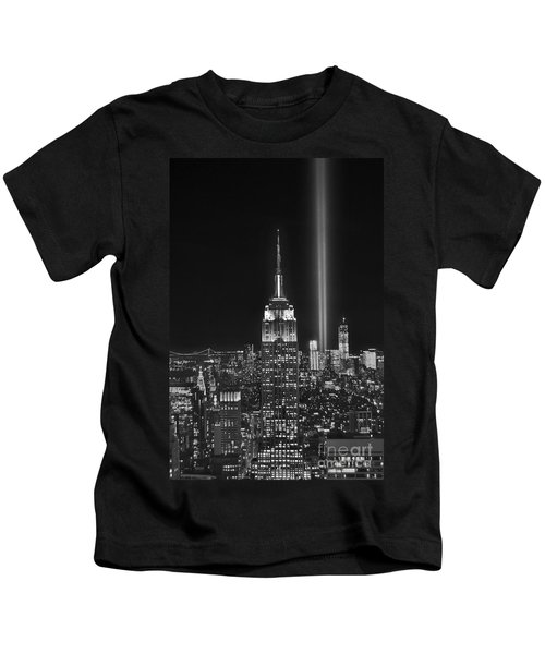 New York City Tribute In Lights Empire State Building Manhattan At Night Nyc Kids T-Shirt by Jon Holiday