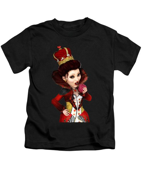 Queen Of Hearts Portrait Kids T-Shirt by Methune Hively