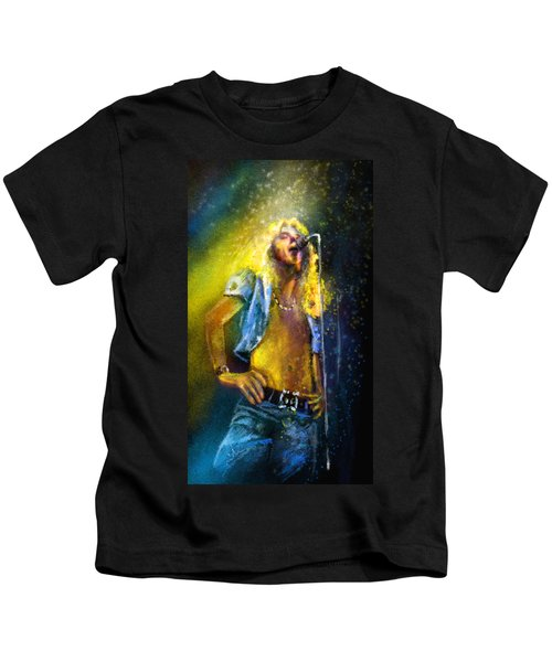 Robert Plant 01 Kids T-Shirt by Miki De Goodaboom