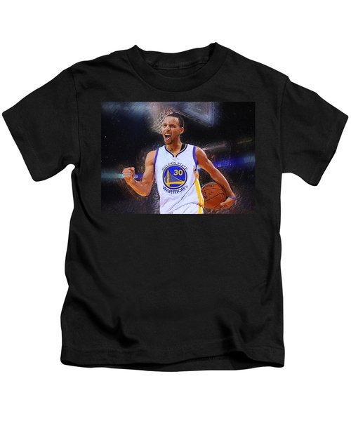 Stephen Curry Kids T-Shirt by Semih Yurdabak