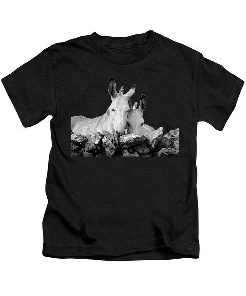 Two White Irish Donkeys Kids T-Shirt by RicardMN Photography
