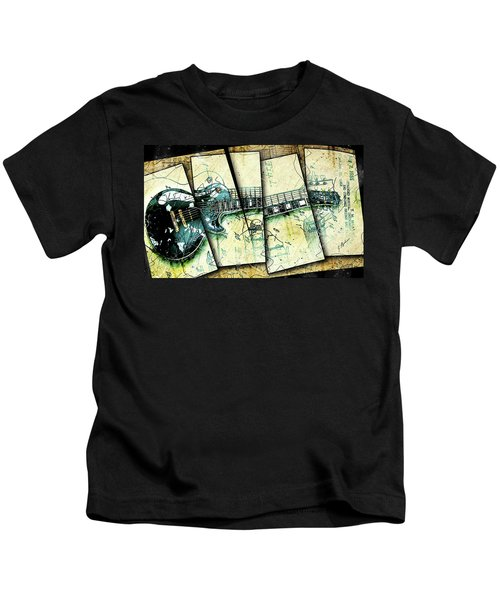 1955 Les Paul Custom Black Beauty V2 Kids T-Shirt by Gary Bodnar