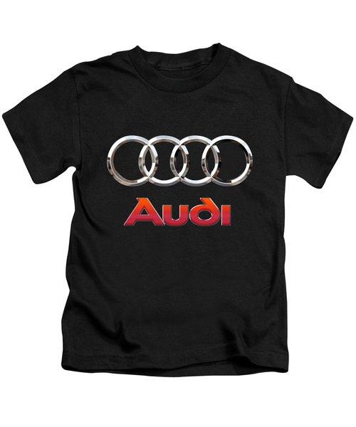 Audi - 3 D Badge On Black Kids T-Shirt by Serge Averbukh