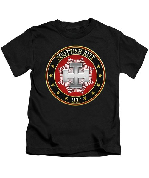 31st Degree - Inspector Inquisitor Jewel On Black Leather Kids T-Shirt by Serge Averbukh