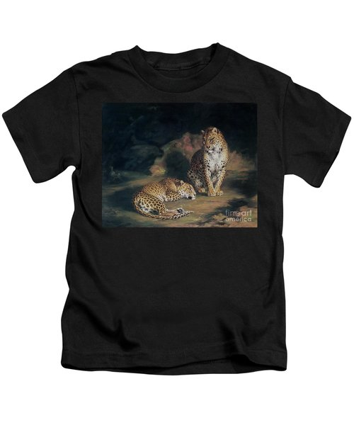 A Pair Of Leopards Kids T-Shirt by William Huggins