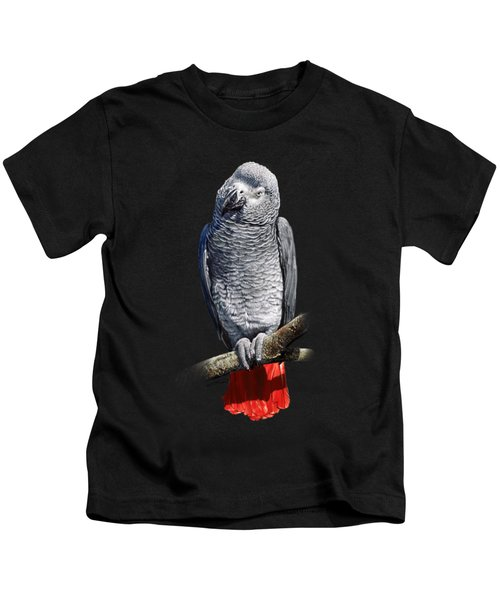 African Grey Parrot C Kids T-Shirt by Owen Bell
