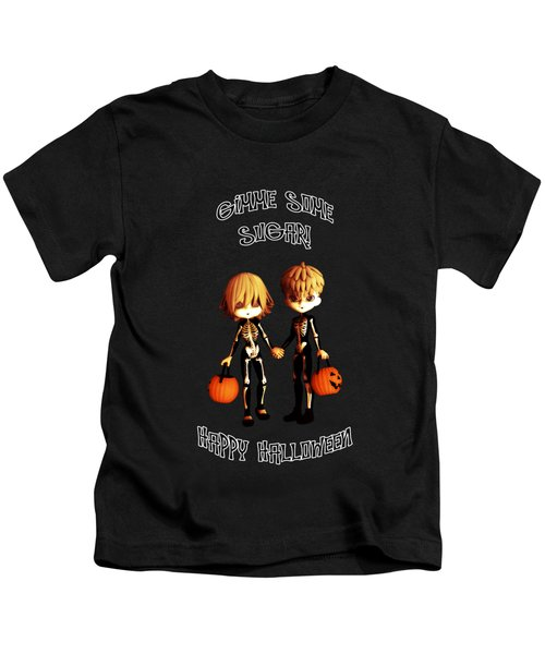 Skeleton Twinz Halloween Kids T-Shirt by Methune Hively