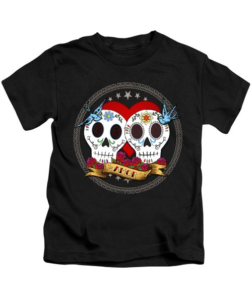 Love Skulls II Kids T-Shirt by Tammy Wetzel