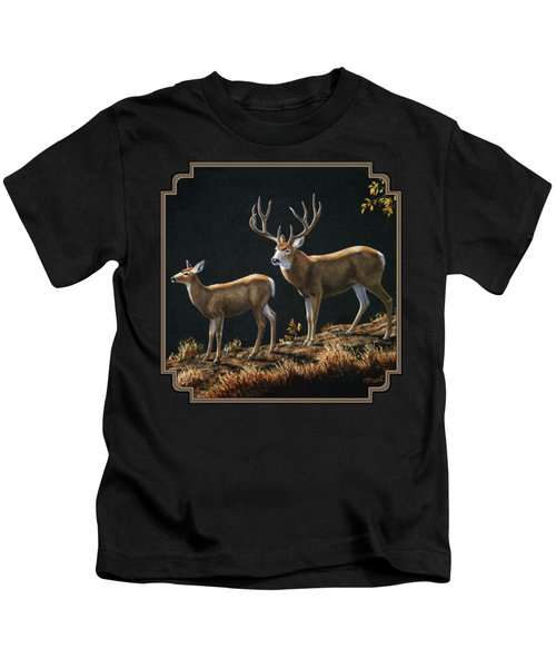 Mule Deer Ridge Kids T-Shirt by Crista Forest