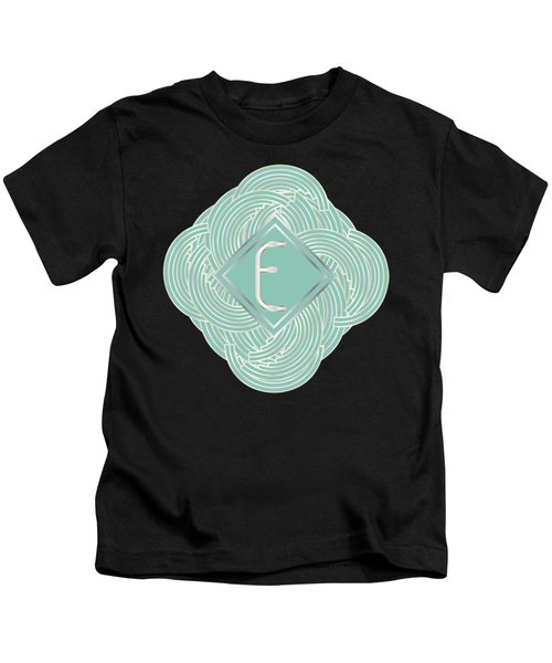 1920s Blue Deco Jazz Swing Monogram ...letter E Kids T-Shirt by Cecely Bloom