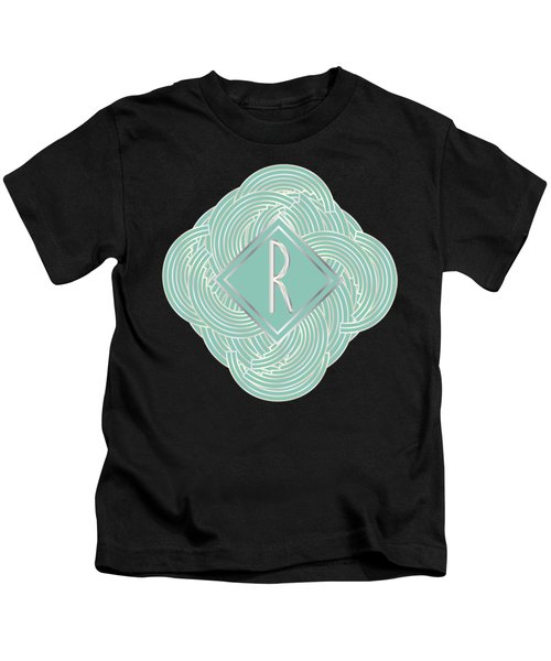 1920s Blue Deco Jazz Swing Monogram ...letter R Kids T-Shirt by Cecely Bloom
